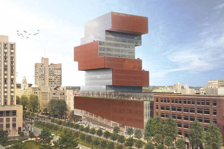 KPMB Architects Designs Stacked Data Sciences Tower for Boston University, Data Sciences Center. Image Courtesy of KPMB Architects