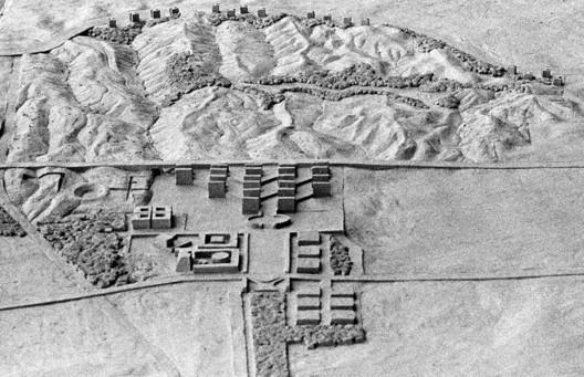 Kahn's monolithic designs dot the arid landscape.