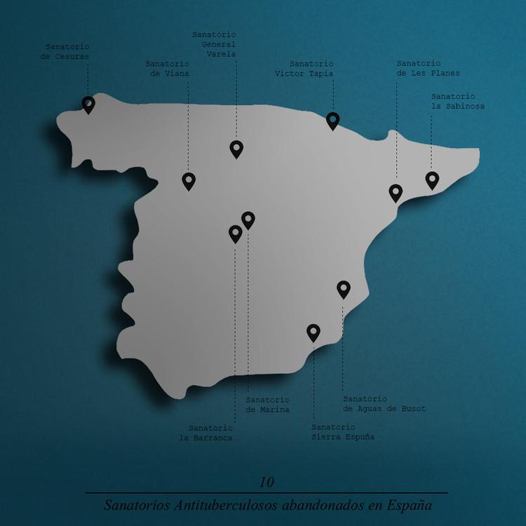 Los sanatorios antituberculosos que salvaron a España , Ubicación de los 10 sanatorios en España. Image Cortesía de Javier García Librero