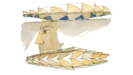 Schematic roof and facade. Image by Santiago Calatrava