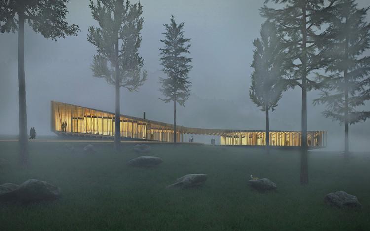 Proposta de alojamento temporário na Trilha dos Apalaches evidencia a madeira como material sustentável, Cortesia de Yueqi Li