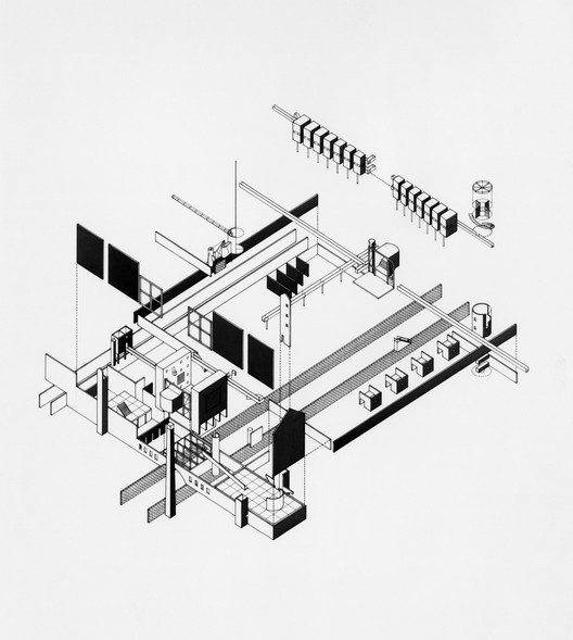 Author: Stanley Allen. Project Title: The Theater of Production. Course/AY: Thesis, 1980-81.  Professors: John Hejduk, Raimund Abraham, Anthony Candido, Ricardo Scofidio, Robert Slutzky, Bernard Tschumi. Image Courtesy of The Irwin S. Chanin School of Architecture Archive, The Cooper Union