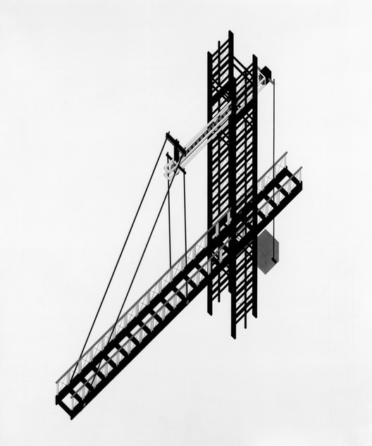 Author: Karen Bausman. Project Title: One-Way Bridge. Course/AY: Thesis, 1981-82. Professors: John Hejduk, Anthony Candido, Lewis Davis, Roderick Knox, Richard Stein, Donald Wall. Image Courtesy of The Irwin S. Chanin School of Architecture Archive, The Cooper Union
