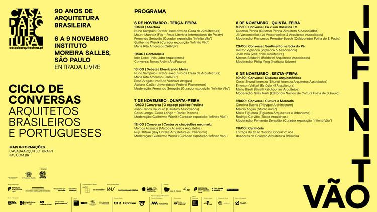 Ciclo de Conversas / Arquitetos brasileiros e portugueses, O Infinito Vão chega ao Brasil entre os dias 6 e 9 de novembro