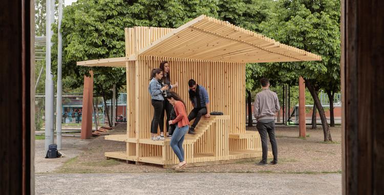1000 metros lineales de madera para crear dispositivos públicos en Córdoba, Vertebrado- Arquitectura Paisajista B + Godó Diseño (CAMMEC) Museo de la Industria