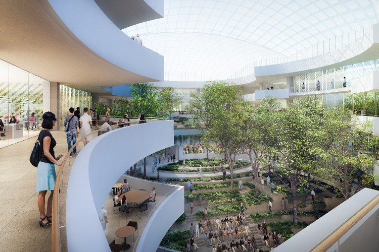 Safdie Architects and Perkins+Will's Albert Einstein Medical School Breaks Ground in São Paulo, Vista do átrio. Image Cortesia de Safdie Architects