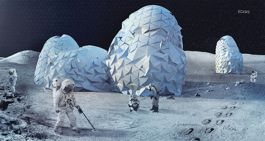 """In recent years architects have increasingly been involved in proposals to expand human environments (and human resource extraction) into extraterrestrial environments, which Harper and Smith argue is symptomatic of the extreme technological developments needed to continue our growth paradigm. Shown here is TEST LAB, the <a href='https://www.archdaily.com/803985/9-visions-for-lunar-colonies-selected-as-winners-in-moontopia-competition'>winning entry to Eleven Magazine's Moontopia competition</a></noindex></noindex> from 2017. Image Courtesy of Eleven-Magazine.com"""" title=""""In recent years architects have increasingly been involved in proposals to expand human environments (and human resource extraction) into extraterrestrial environments, which Harper and Smith argue is symptomatic of the extreme technological developments needed to continue our growth paradigm. Shown here is TEST LAB, the <noindex><noindex><a target="""