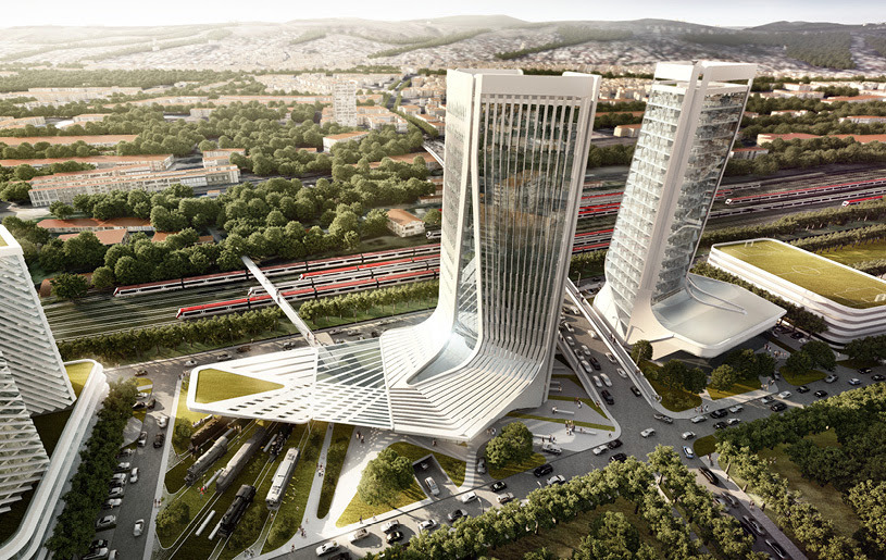 GRAFT's Masterplan for Georgian Railway Headquarters Mimics the Natural Curve of a Railway Junction