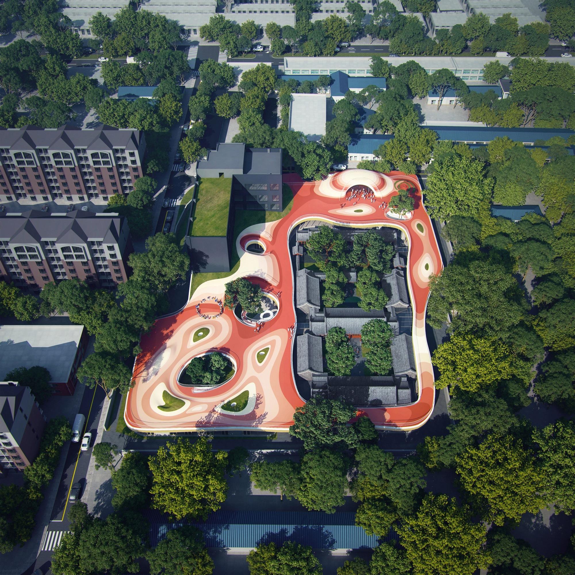 MAD Architects Begin Construction on Floating Kindergarten above Historic Beijing Courtyard