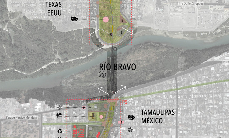 XXXIII ELEA Santa Cruz: conoce los proyectos ganadores de la Bienal de Arquitectura Estudiantil Latinoamericana, Corredor Cultural Binacional Laredo Nuevo Laredo - Proyecto destacado. Image Cortesía de XXXIII ELEA Santa Cruz