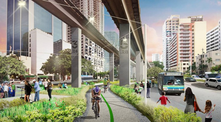 Work Set to Begin on Miami's Answer to the NYC High Line, Designed by James Corner Field Operations, © James Corner Field Operations and Friends of the Underline, via Miami Herald