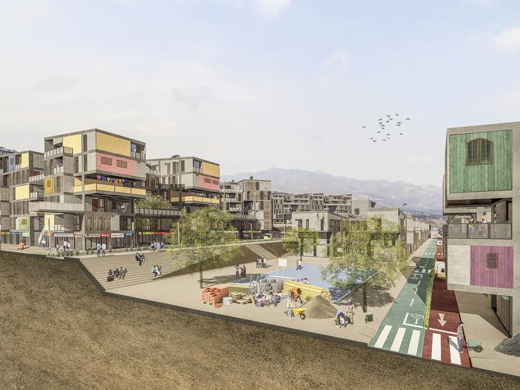 Estrategias de ocupación urbana para rehabitar las laderas de Lima, 7_vista de bloque 1 y 4, vias internas y zona deportiva, etapa transitoria. Image © Angular Lab