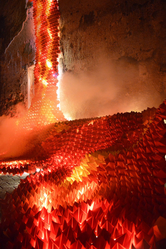 Ephemeral 'Origami Lava' Installation at Catalonia's Lluèrnia Festival of Light and Fire, Courtesy of SP25 Arquitectura