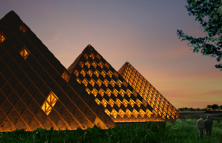 Shigeru Ban Designs Triad of Timber Pyramids for Kentucky Owl Park, Kentucky Owl Park. Image © Courtesy of Shigeru Ban Architects