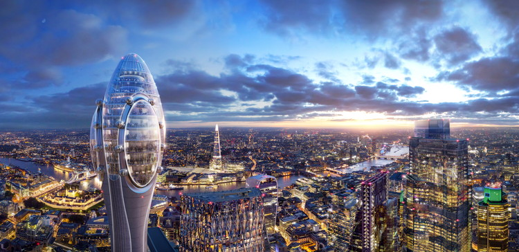 Foster + Partners Plan a Tulip-Shaped Tower for Central London, © DBOX for Foster + Partners