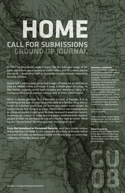 Call for Submissions - Ground Up Journal Issue 08: HOME, Ground Up Journal Issue 08: HOME