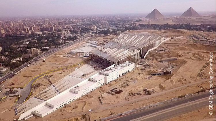 """Expert Conference on """"Re-Materializing Construction"""", One of the four concurrent mobile workshops of the LafargeHolcim Forum is dedicated to """"archeology heritage"""" and will give participants a glimpse into Egypt's efforts to save a rich and amazing cultural heritage. Participants will also visit the under-construction project of the Grand Egyptian Museum. c GEM Engineering Committee"""