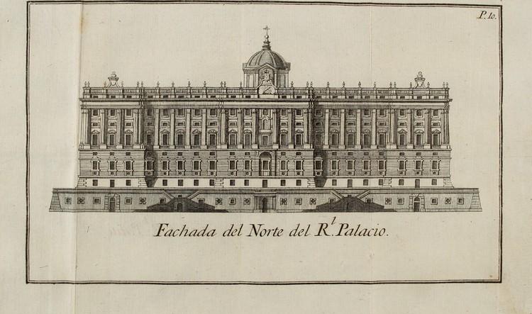 Fachada norte del Palacio Real (1738). Image © Internet Archive Book Images [Flickr], bajo licencia CC BY-NC 2.0