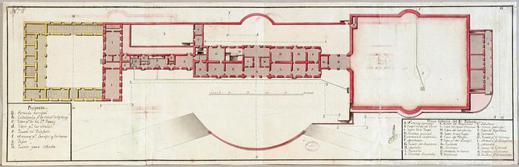 Planta superior del Palacio Real (1738). Image Cortesía de MECD. Archivos Estatales
