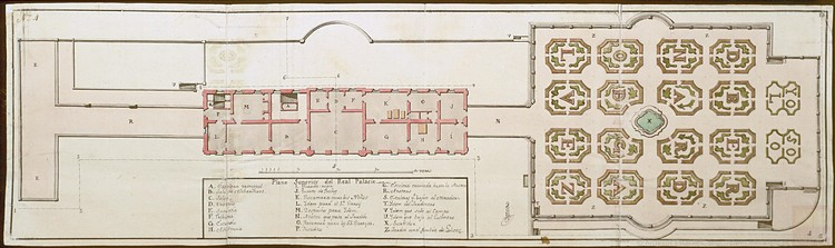 Planta inferior del Palacio Real (1738). Image Cortesía de MECD. Archivos Estatales