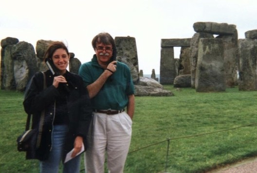 Kolson Hurley on holiday with her father at Stonehenge. Image via CommonEdge