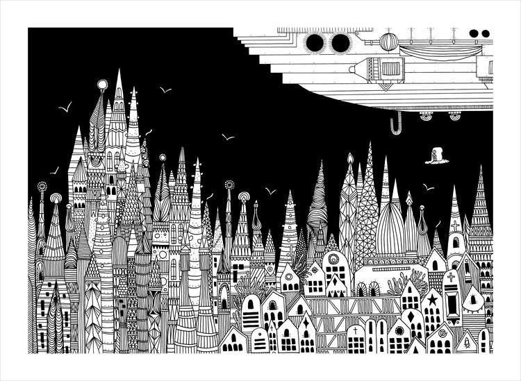 Intricate Illustrations of Italo Calvino's 'Invisible Cities', Ipazia. Image © Karina Puente
