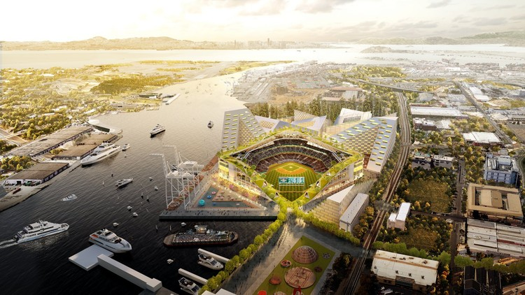BIG, Gensler, and Field Operations Reveal Design for Oakland Athletics Baseball Stadium, Oakland Baseball Stadium. Image Courtesy of Oakland Athletics / Bjarke Ingels Group