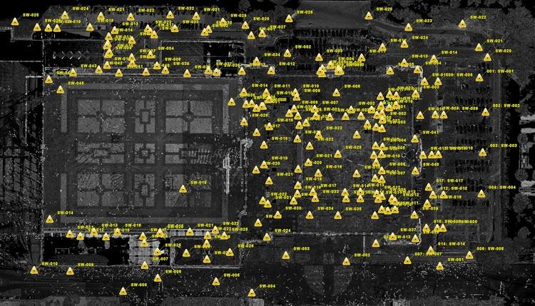 Representación de los diferentes puntos donde se posicionaron el BLK360 y el P40 para realizar los escaneos del Palacio Real de Madrid. Image Cortesía de Leica Geosystems