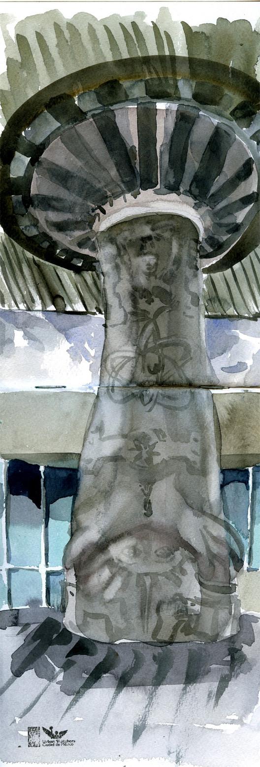 Isaac Cruz (@el_probador_de_bancas). Technique: Watercolor. Image © Urban Sketchers