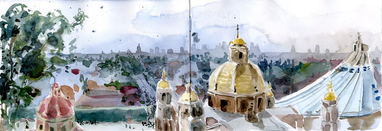 Urban Sketchers Mexico Pays Tribute to Pedro Ramírez Vázquez, Isaac Cruz (@el_probador_de_bancas). Technique: Watercolor. Image © Urban Sketchers
