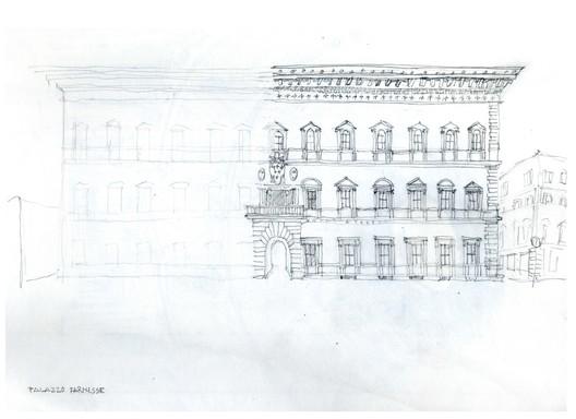Palazzo Farnese Sketch. Image Courtesy of Rogelio Ruiz Fernández