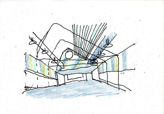 Dinning Room Sketch. Image Courtesy of Rogelio Ruiz Fernández
