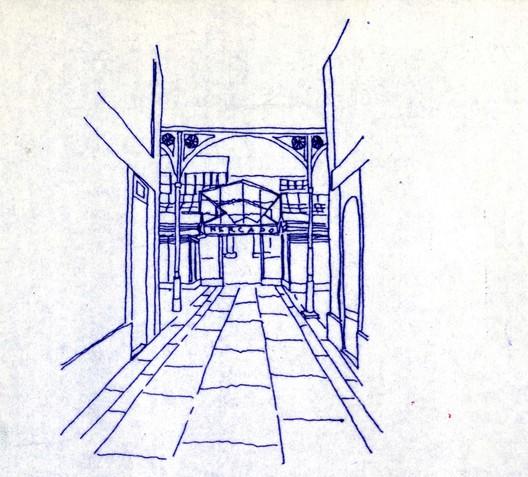 Mercado Aviles Competition Sketch. Image Courtesy of Rogelio Ruiz Fernández
