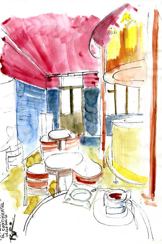 Valladolid Café Sketch.. Image Courtesy of Rogelio Ruiz Fernández
