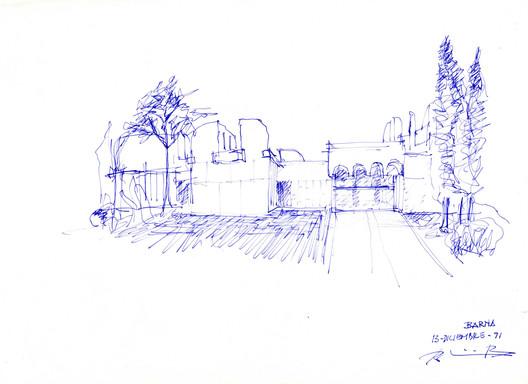 FFundación Miró San Barna Sketch. Image Courtesy of Rogelio Ruiz Fernández