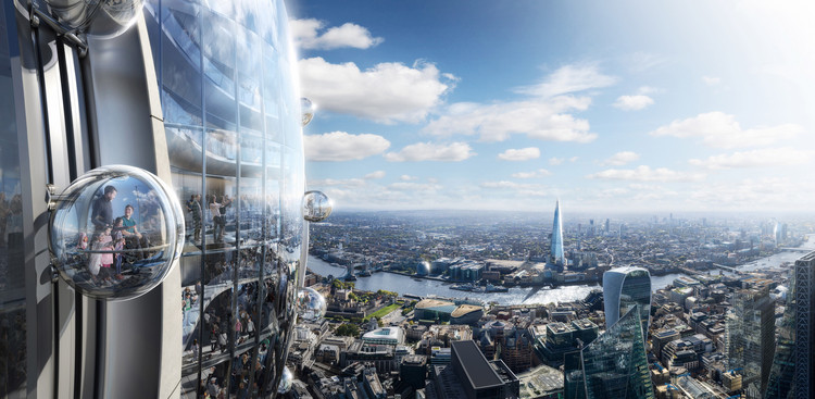 Foster + Partners' Tulip Towers Could Pose Risks to Air Traffic Control , Courtesy of DBOX for Foster + Partners