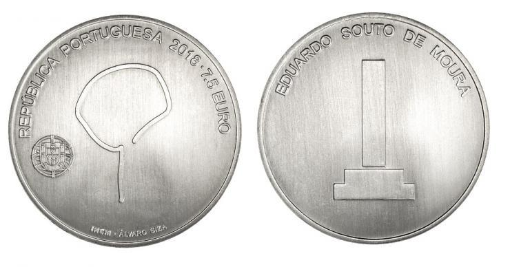 Portugal colocará em circulação moeda em homenagem a Eduardo Souto de Moura, Moeda em homenagem a Eduardo Souto de Moura. Image via Banco de Portugal. Divulgação