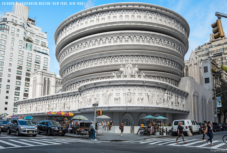 Iconic American Buildings Re-Envisioned in the Gothic Revival Style , Solomon R. Guggenheim Museum / Frank Lloyd Wright. Image Courtesy of Angie's List