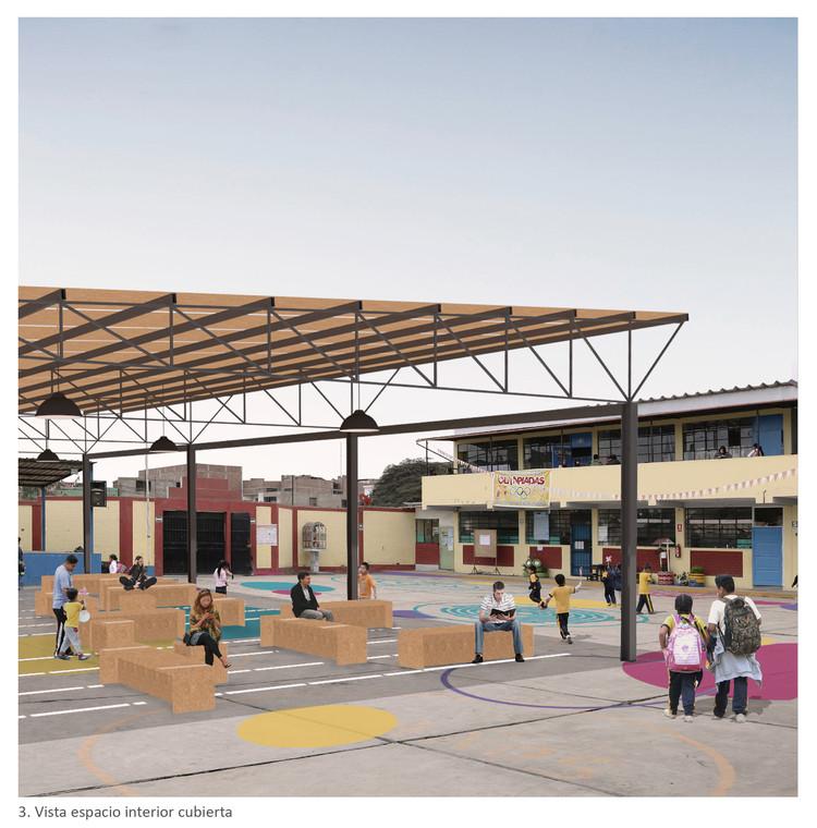 La importancia del 'Patio Común' en la escuela: Primer Lugar del Concurso Proyectos de Infraestructura Social en Lima, Vista_3. Image Cortesía de PLAN PISE