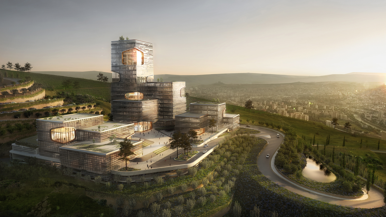 UNStudio Begins Construction on Visionary Financial Forum in Georgia,via UNStudio