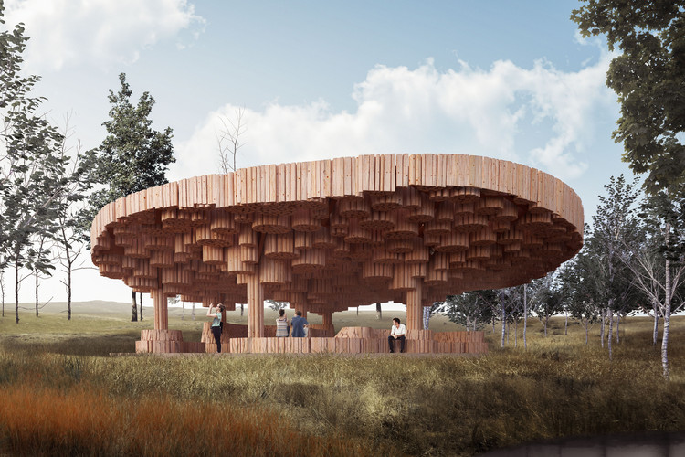 Francis Kéré Designs a Wooden Art Pavilion for Tippet Rise, Tippet Rise Gathering Pavilion. Image Courtesy of Kéré Architecture