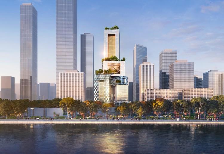 MVRDV redefine a tipologia o arranha-céu com sua proposta para Shenzhen, Vanke 3D City. Imagem © ATCHAIN