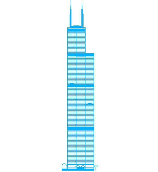 Willis Tower AKA Sears Tower, 1974. Image Courtesy of ORBITZ