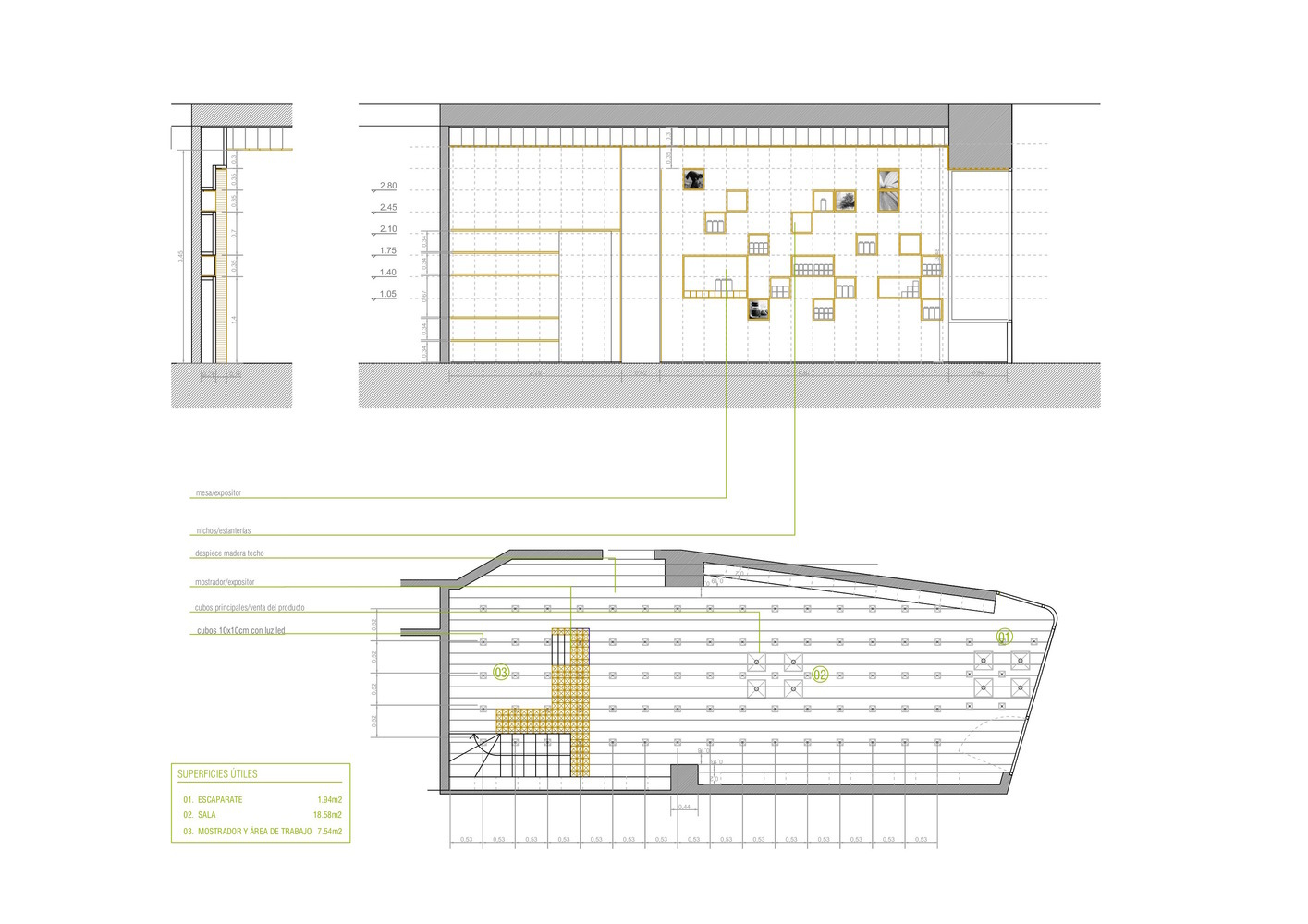 Gallery of Retail Stores Under 100 Square Meters: Examples in Plan