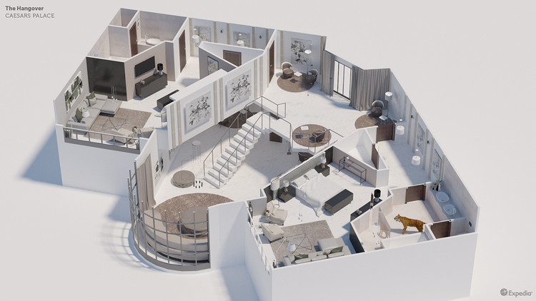 7 modelos detallados de cuartos en películas famosas, The Hangover (Caesars Palace Hotel). Image © Expedia