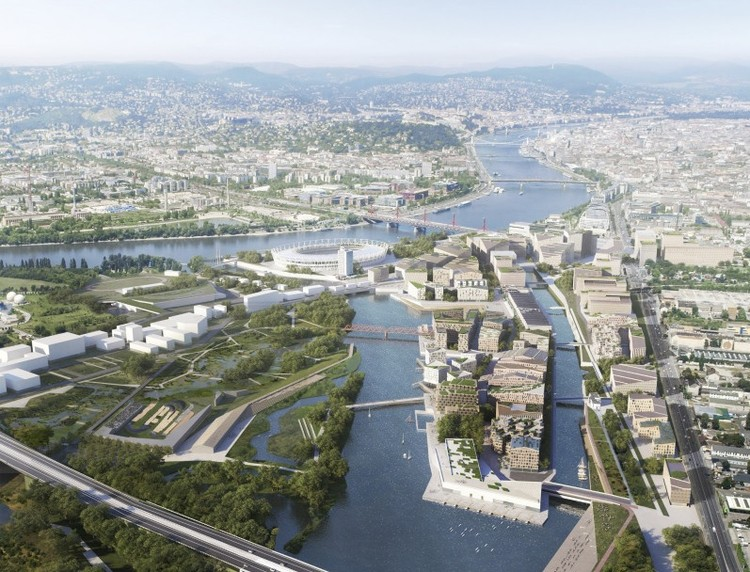 Snøhetta Designs New Danube River District for Budapest,  Budapest South Gate Masterplan. Image Courtesy of Filippo Bolognese, Snøhetta