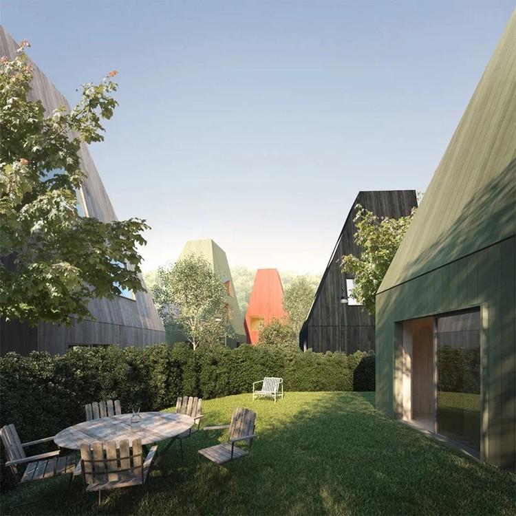Tham & Videgård Reinvent Swedish Timber Row Houses, Vertical Village II. Image Courtesy of Tham & Videgård Arkitekter