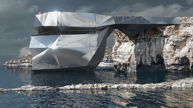 Svetozar Andreev Reimagines Iconic Azure Window as a Metallic Arch, Heart of Malta. Image Courtesy of Svetozar Andreev