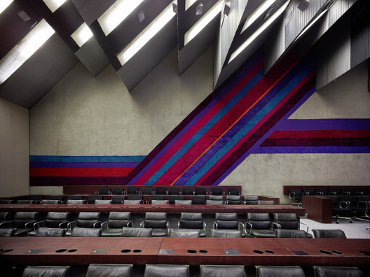 Stojan Maksimović, Sava Center, 1979, Belgrade, Serbia. View of conference room. Photo: Valentin Jeck, commissioned by The Museum of Modern Art, New York, 2016.
