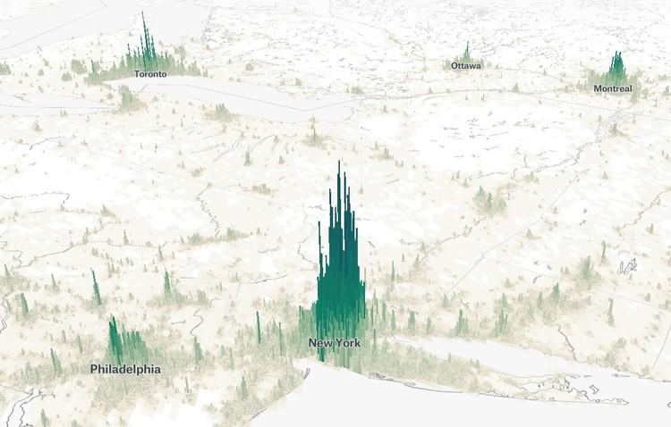 Mapa interativo mostra a densidade populacional de todas as cidades do mundo, Human Terrain. Cortesia de Matt Daniels
